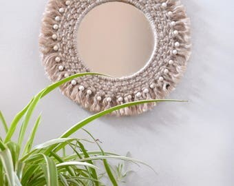 Natural jute macrame mirror