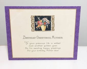 handmade card // happy birthday Mother // Art Deco // 1920s // purple // floral // upcyled vintage greeting