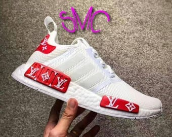 Custom Louis Vuitton,Louis Vuitton,Adidas,Nmd Adidas,White ,Nmd R1,Runner Adidas,Sneakers,Custom,Customized Men's Trainers