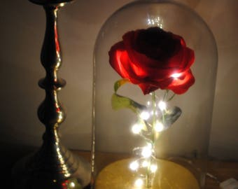 LIMITED EDITION Enchanted rose with vintage finish gold base