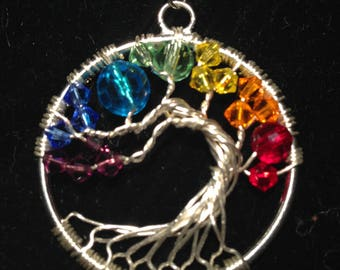 Valentina's Day.Chakra Tree of Life Necklace Pendant Artistic.Wire Silver Plated.Tarnish Resistant Silver.Swarovski crystals.