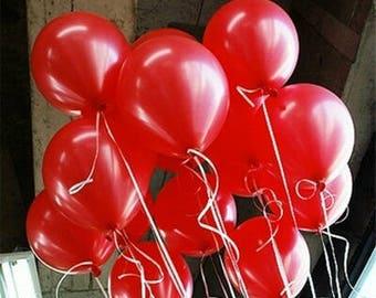 Red Balloons, Metallic Red Balloons, Party Balloons, 30cm Balloons, Pkt 12