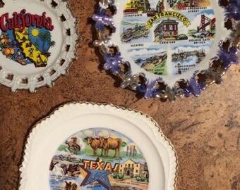 Vintage Souvenir State Plates - Texas, California, San Francisco