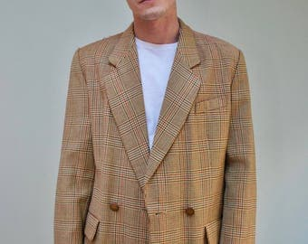 Men's Checked Vintage Suit Jacket