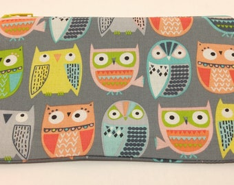 Funky Owl Print Novelty Zipper Pouch - makeup bag; pencil case; gift for her; cosmetic bag; carry all; gadget case; birthday; bridesmaids