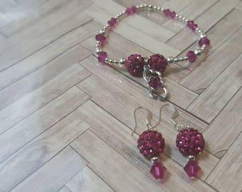 Fuschia Infinity Double heart Bracelet and Earring set