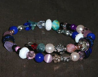 Adjustable Memory Wire Beaded Bracelet - Multicolored- For Her - Handmade by Gracie