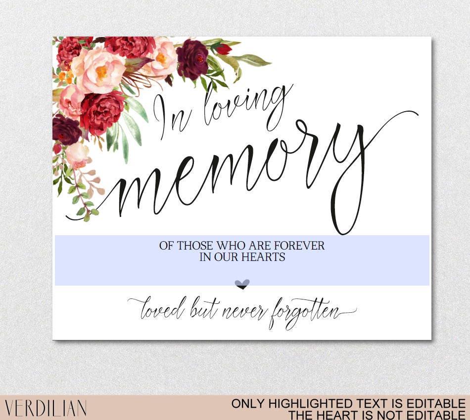 In Loving Memory Wedding Sign Template, Memorial Table Sign ...