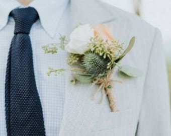 Peach and white rose corsage