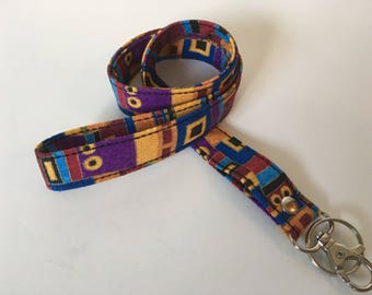 Lanyard, Gustav Klimt inspired fabric, Swivel clip ID holder, Neck strap, Badge holder, Key lanyard, affordable Valentine's day gift