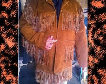 mens fringe jacket mens/fringed coat mens/mens cowboy coat/70s Vintage Clothing/western/leather jacket/suede/native american/pioneer/boho