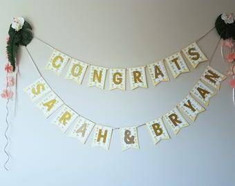 Congrats Personalized Tropical Floral Name Banner/Celebration/Graduation/Engagement/Announcement/Wedding/Bridal/Baby Shower