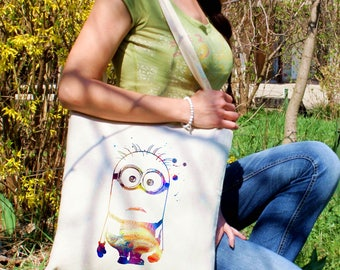 Minion tote bag -  Minions shoulder bag - Fashion canvas bag - Colorful printed market bag - Gift Idea