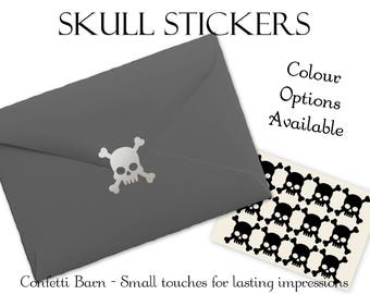 Skull & Crossbones Stickers - Halloween Party - Removable Vinyl - Envelope Sealing Stickers - Planner Stickers #79