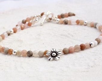 Gemstone and hill tribe silver charm anklet, nude anklet with sterling silver and hill tribe silver, womens anklet, beach wear