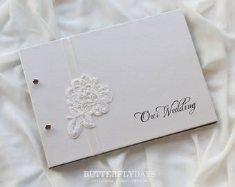 """Guest Book A4, Wedding Photo Book, """"Floral Lace"""", Weddings, Engagements, Birthdays, Anniversaries"""