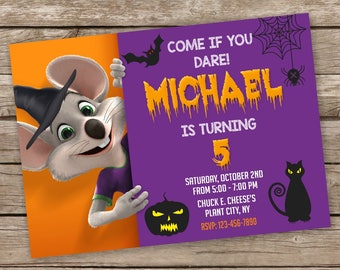 Chuck E Cheese Invites, Chuck Halloween Invitation, Chuck E Cheese Birthday, Chuck E Cheese Themed Invitation