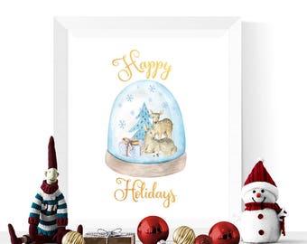 Happy Holidays Signs | Reindeer Snowglobe Happy Holidays Printable | Happy Holidays Sign  | Holiday Decorations | Digital Download