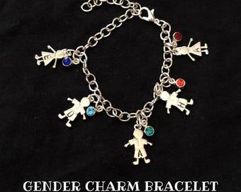 Gender Charm Bracelet | Custom | Personalized Handstamped Jewelry