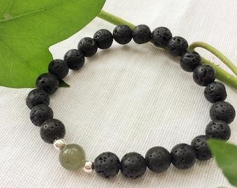 labradorite bracelet,lava bead jewelry,matte black bracelet,lava stone bracelet,simple lava bracelet,bracelet black lava,bracelet stretchy