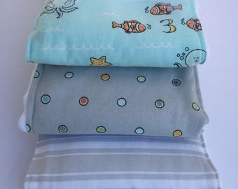Sea Life Burp Cloth Trio