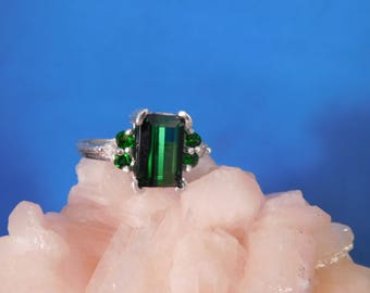 2.65 Ct. Emerald-Cut Green Tourmaline and Tsavorite Garnet Ring Sterling Silver