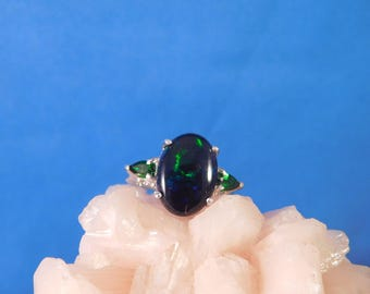 2.46 Ct. Black Opal and Chrome Diopside Three-Stone Ring Sterling Silver
