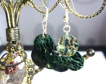 Sequin dark green shell earrings