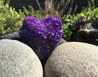 Beautiful Purple Flame Aura Quartz Druzy Heart