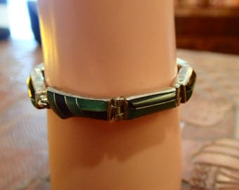 Bracelet silver, turquoise and onyx Navajo / Navajo sterling silver, turquoise and onyx vintage bracelet