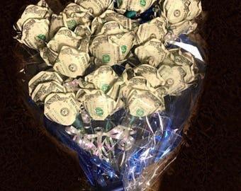 Money Rose Bouquet - Dozen Roses; 60 Real Dollar Bills