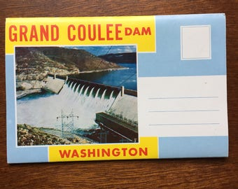 Vintage Grand Coulee Dam, Washington postcard book, never been used