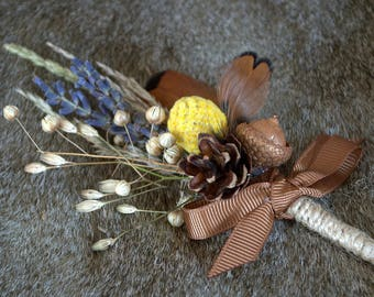 Woodland boutonniere, rustic wedding,
