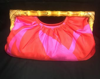 Vintage By Banana Republic Pink Satin And Bamboo Clutch Bag