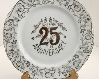 Vintage Norcrest Fine China 25th Anniversary Plate B-333