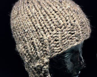 Hand knitted chunky ear flap hat one size fits most adults and older kids