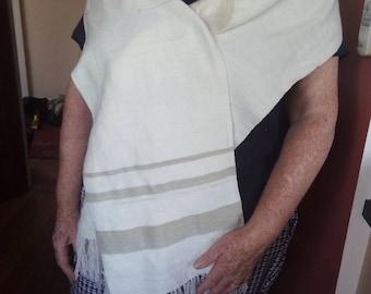 Handwoven, handspun, natural dyed, plain woven shawl