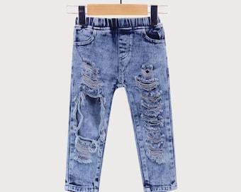 Ripped Jeans Boys Girls Knitted Denim Pants Infant Girl Pants Blue Toddler Jeans Children Summer Fashion
