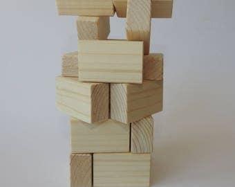 Set of 20 handmade wooden blocks, eco friendly toys, children wooden toys + LINEN BAG for free