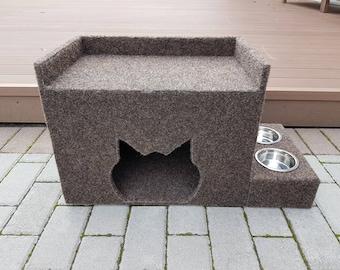 2 in 1/ Carpet cat house + cat feeder/ cat cave/ pet house/ cat accessories/ cat bowls, cat scratcher