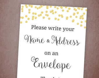 Name and Address Sign Printable, Envelope Sign, Please Write Your Name and Address on the Envelope, Gold Confetti Bridal Shower, A001