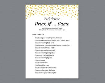 Bachelorette Drink If Game, Gold Dots Drinking Game, Bachelorette Games, Bridal Shower, Wedding Shower, Hen Party Game, Take a Sip, A015