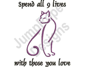 9 Lives - Machine Embroidery Design