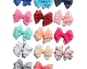 13cm Newborn Fashion Big Gauze Layered Hair Bows for Gilrs Hair Clips Handmade Mesh Hairbows for Women Hair Accessories NO CLIP