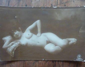 VINTAGE real photo  nude postcard