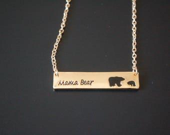 Gold tone mama bear baby bear necklace