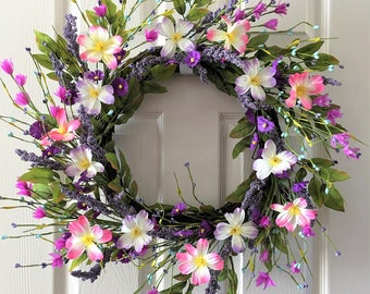 Spring wreath for front door,Summer wreath,Floral wreath,Front door wreath,Everyday wreath,Purple flower wreath