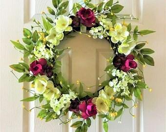 Spring wreath for front door, Flower berry wreath, Summer wreath for front door, Flower wreath, Front door wreath, Everyday wreath