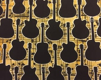 Guitar Fabric Cotton By The Yard 36 Inches Long