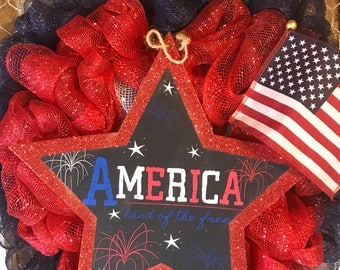 Red white and blue America deco mesh wreath
